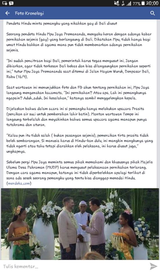 Pemangku agama menyaksikan pernikahan homo dibali